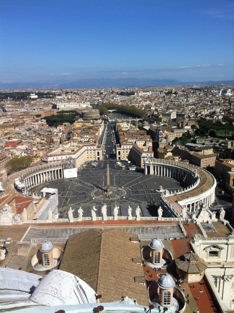 View from dome of St. Peter's Basilica.