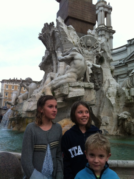 The fountain of the rivers of the four continents in Piazza Navona. Standing in front of 'Africa' whose head (the Nile) is covered, as the source of the Nile is not known.