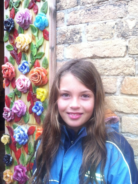 Lill and some beautiful glass flowers, Murano.