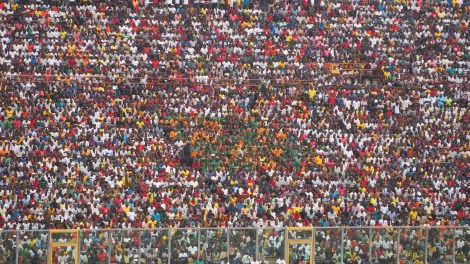 The Zambian supporters were somewhat outnumbered!