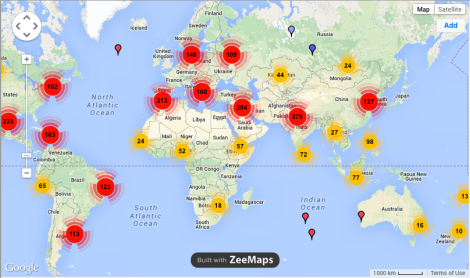 The perfect example of our globalised world: locations of students in my EdX course.