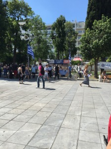 The Oxi stand in Syntagma Square.